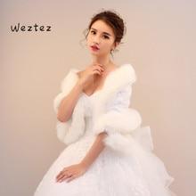 Jacket Bolero Bridal Winter Coat Shawl Warm Elegant Faux Fur Wraps For Wedding Bride Fur Bolero PJ112