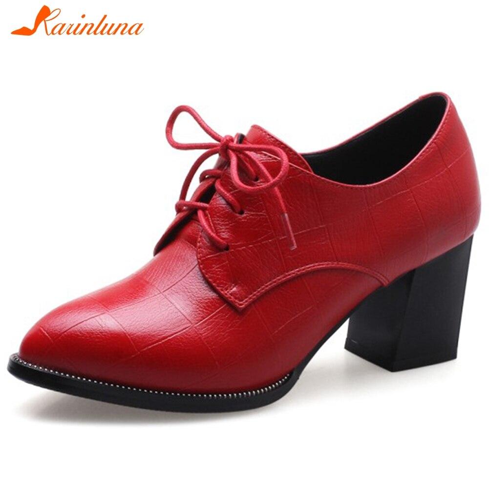 KARINLUNA nowości Dropship 2019 platformy masywne obcasy czarny czerwone buty kobieta pompy czółenka sznurowane kobieta buty