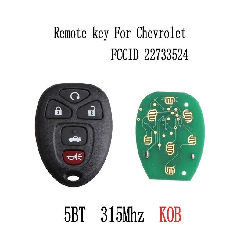 2 uds * 5 botones mando a distancia DIY para Chevrolet Cobalt 2005-2010 para Chevrolet Malibu 2004-2012 KOBGT04A 22733524 llaves originales
