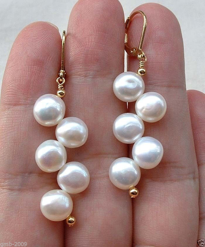"Hermosa perla blanca de agua dulce hecha a mano 18kgp Leverback pendientes 2,5"""