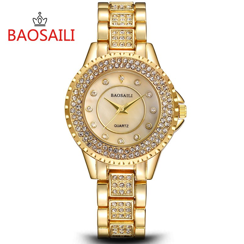 BAOSAILI coquille strass intégré femmes Bracelet montre de mode dame analogique Quartz horloge robe populaire Relojes Para Mujer