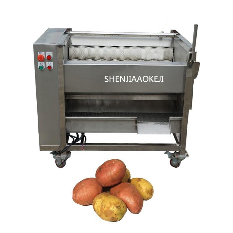 Automatic ginger washing and peeling machine ZH-QP800S /ginger roller peeling machine Sweet potato cleaning peeling machine 380V