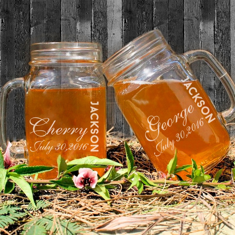 2016 Hot 450ml Wedding Mason Jars Custom Name and Dates Personalized Mason Bottle Vintage Mason Jars Lot Glass Drinking Bottle