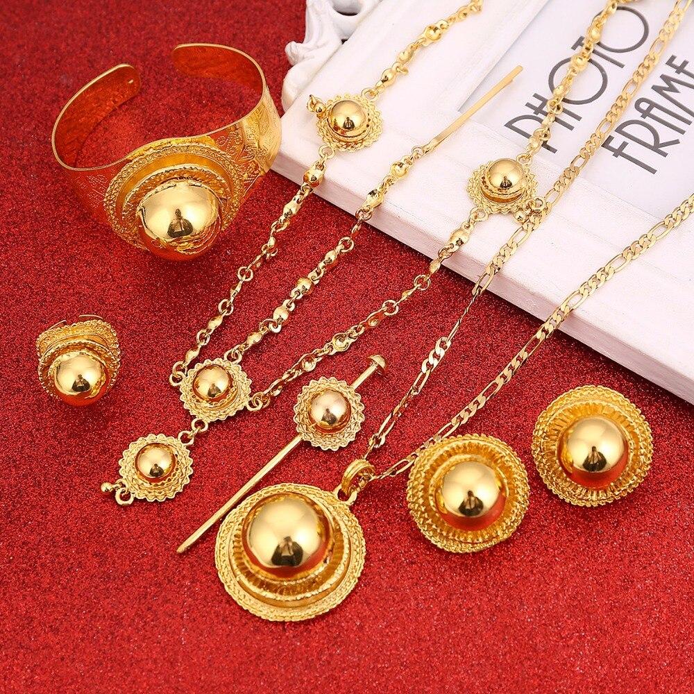 Set de joyería etíope de la mejor calidad, joyería de cabello color dorado, conjunto de 6 uds, joyería africana para Etiopía, el mejor regalo para mujer