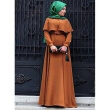 2019 nouvelle Cape Poncho cou robes musulmanes grande taille dames en mousseline de soie femmes islamiques longues robes amples dubaï moyen-orient arabe Abaya