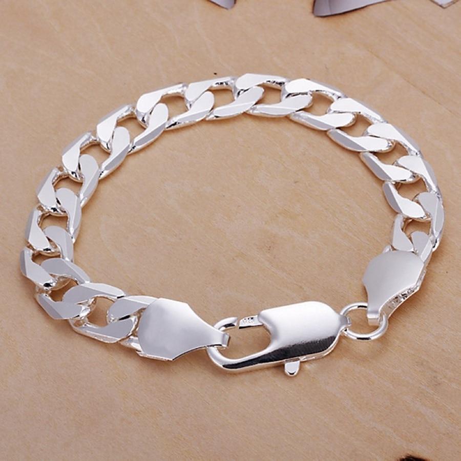 Silber farbe Schmuck 6 MM-12 MM Armband männer frauen Kette LINK edle solid schmuck hochzeit partei geschenke gestempelt, h262
