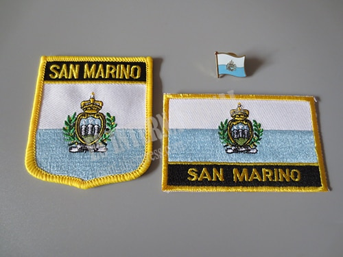 Nationale Vlag Borduurwerk Patches en Metalen Vlag Revers Pin SAN MARINO