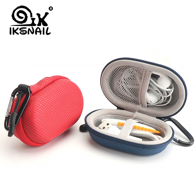 IKSNAIL Headphone Headset Case Earphone Earbuds Box With Hook Portable Storage for Memory Card USB Cable Organizer Mini Cute Bag