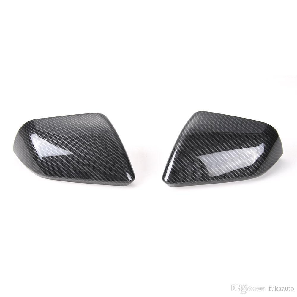2 uds ABS cubierta de espejo retrovisor de coche embellecedor de Marco apto para Ford Mustang 2015-2017 plata Azul Rojo color de fibra de carbono Accesorios