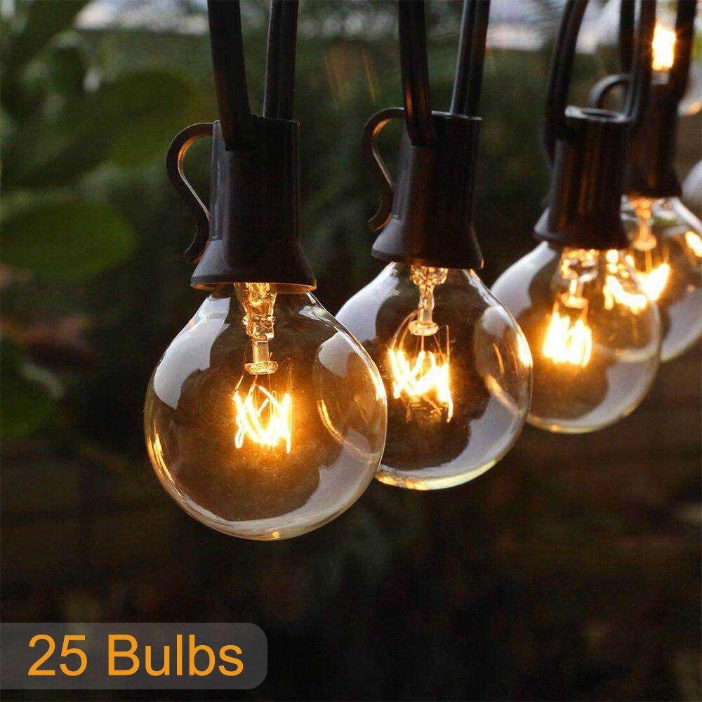 corda de luz de natal g40 25ft para patio globo varal de luz para festa para jardim