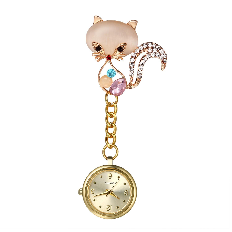 LANCARDO Nurse Watch For Women Clip-On Pocket Watch Cute Cat Design Quartz Watches Fashion Petal Brooch Pendant Hanging Clock