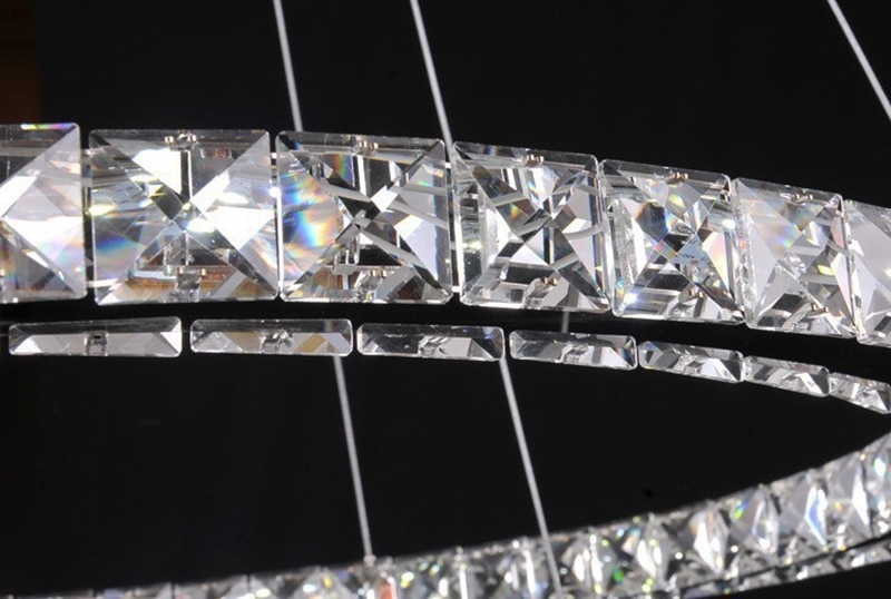Modern Pendant Lamp High-grade light 65W LED lustres K9 Crystal Chandelier Diamond 3 Circles Ring Stainless steel  - buy with discount