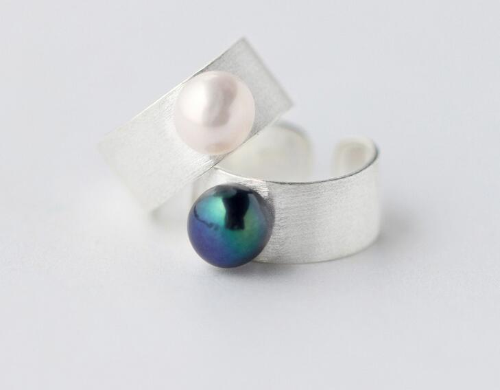 Real Joyería de plata de ley 925 anillo de banda de perlas blanco/Negro cultivadas en agua dulce anillo pulgar anillo para la fiesta Cocktail GTLJ1174