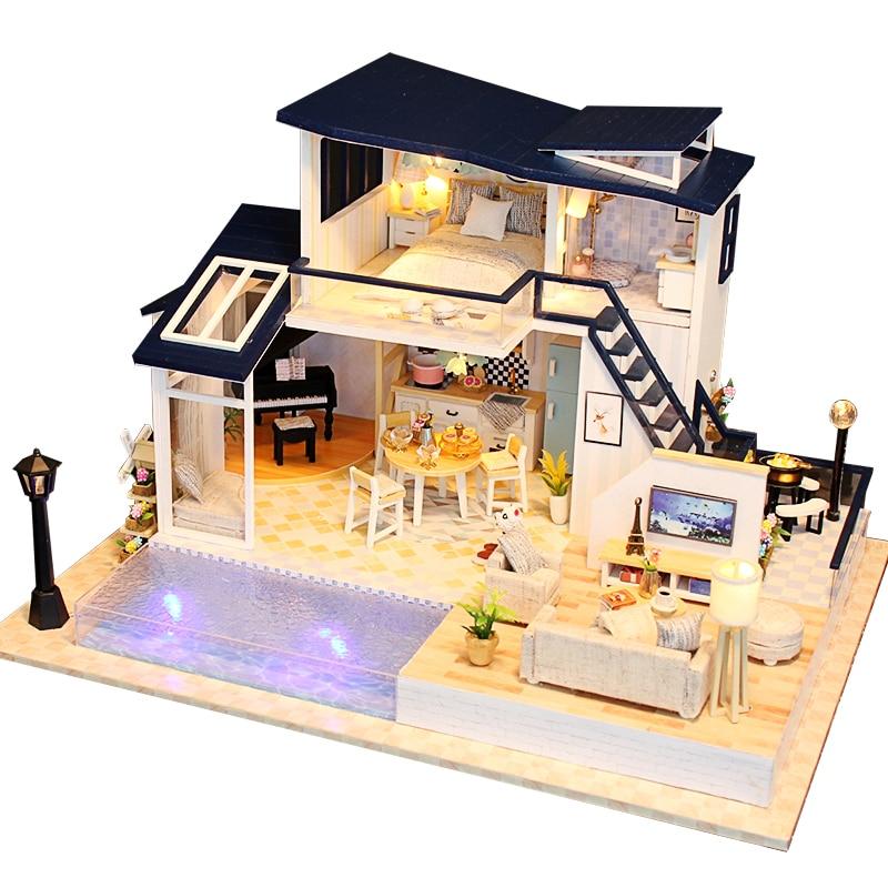 Muñeca nueva casa muebles de madera Diy casa miniatura montar 3D casa de muñecas rompecabezas Kits juguetes para niños regalo de cumpleaños