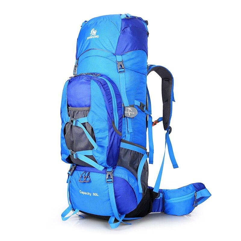 حقائب تسلق خارجية 80 لتر ، حقيبة ظهر للتنزه بإطار خارجي من النايلون ، للجنسين ، للسفر ، مقاومة للماء ، للرجال والنساء ، للتخييم والرحلات
