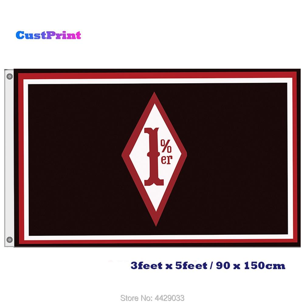 Outlaw MC 1%er Flag Custom 3x5 FT Banner with 2 Grommets Custom Print Motorcyle Club Flags Banners