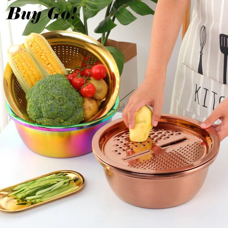 3 unid/set rebanador de verduras de acero inoxidable, pelador de patatas de fruta, rallador de zanahoria, colador, utensilio, cesta de drenaje redonda para lavadora de arroz