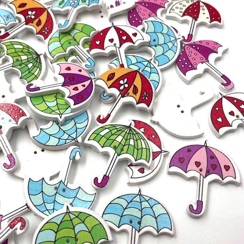 50 Uds DIY patrón de paraguas botones de madera para coser y álbum de recortes 2 agujeros WB475