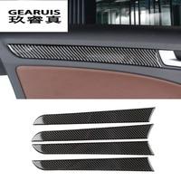 Car styling Carbon Fiber Interior Handle Covers Trim Door Bowl Stickers decorative for Audi a4 B8 2009-2016 auto accessories