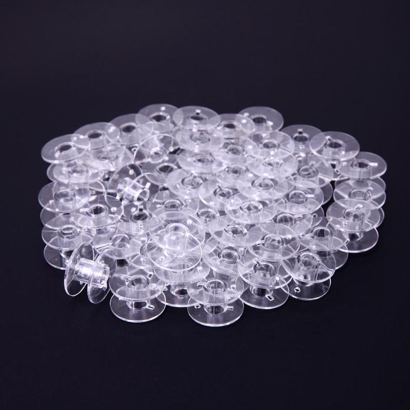Carretes de plástico vacíos de 50 unids/set para máquina de coser, hilos de coser, bobinas vacías, accesorios de costura para el hogar