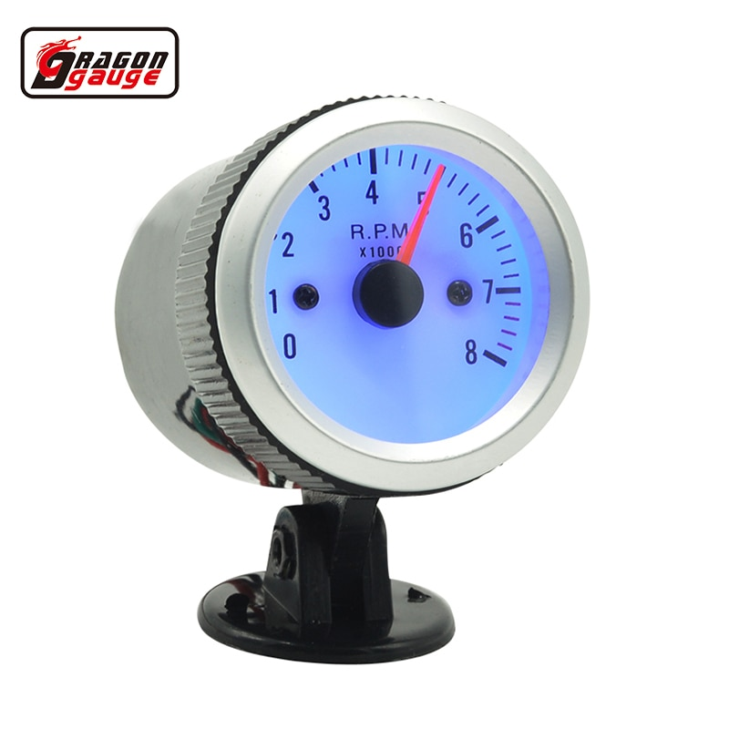 Tacómetro de coche Dragon gauge 52mm contador medidor indicador azul LED luz de fondo 0-8000 RPM + pods envío gratis