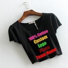 2018 Sexy Solid Black Summer Women Crop Tops T shirt Short Sleeve Blank Custom Logo Photo Text Photo Printed Tee Cropped T-shirt