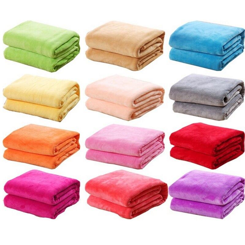 Color aleatorio 1 Uds manta de cama mantas de lana para cama manta lavable a máquina textil para el hogar sólido 50cm * 70cm