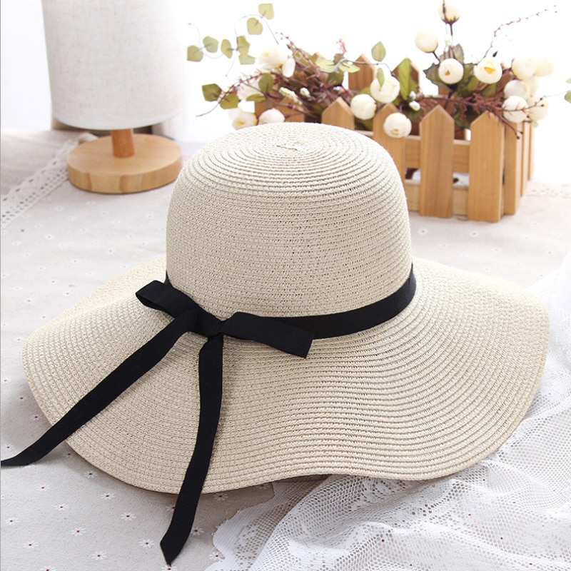 Simple Foldable Wide Brim Floppy Girls Straw Hat Sun Hat Beach Women Summer Hat UV Protect Travel Cap Lady Cap Female braided tassel floppy felt hat