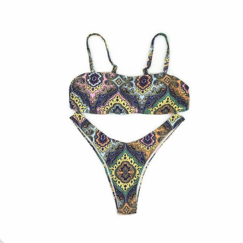 Sexy aztèque Bandage Bikinis 2019 Micro Bikini ensemble Push Up string Biquini coupe haute maillots de bain femmes Mini maillot de bain femme maillot de bain