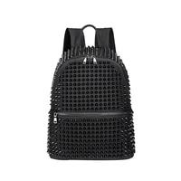 jierotyx fashion female women backpacks rivet black soft washed leather bag schoolbags girls punk bags travel zipper drop ship