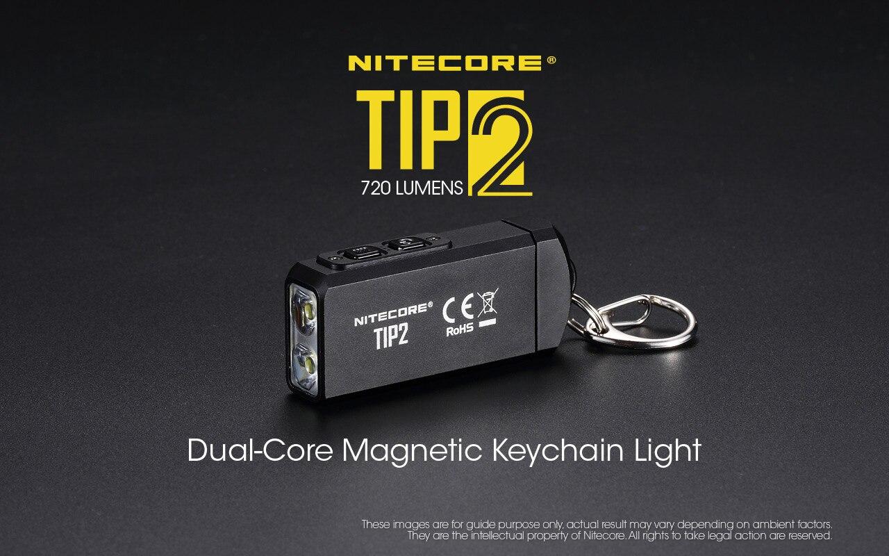 100% Mini luz Original NITECORE TIP2 CREE XP-G3 S3 720 lumen linterna USB llavero con batería recargable