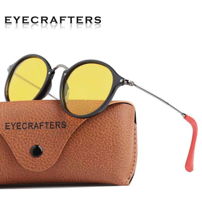 TR + gafas de conducción de visión nocturna ligeras de acero inoxidable gafas de sol polarizadas Retro Vintage para hombre y mujer gafas de sol redondas con cuello redondo