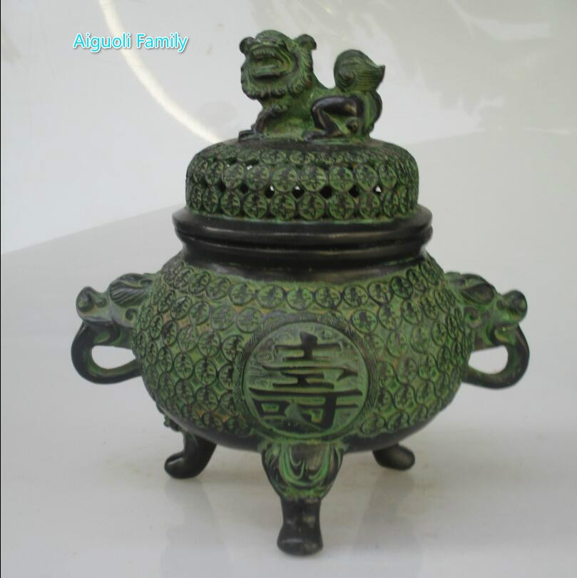 Bronze chinês collectible esculpido sorte moeda queimador de incenso/templo leão censer