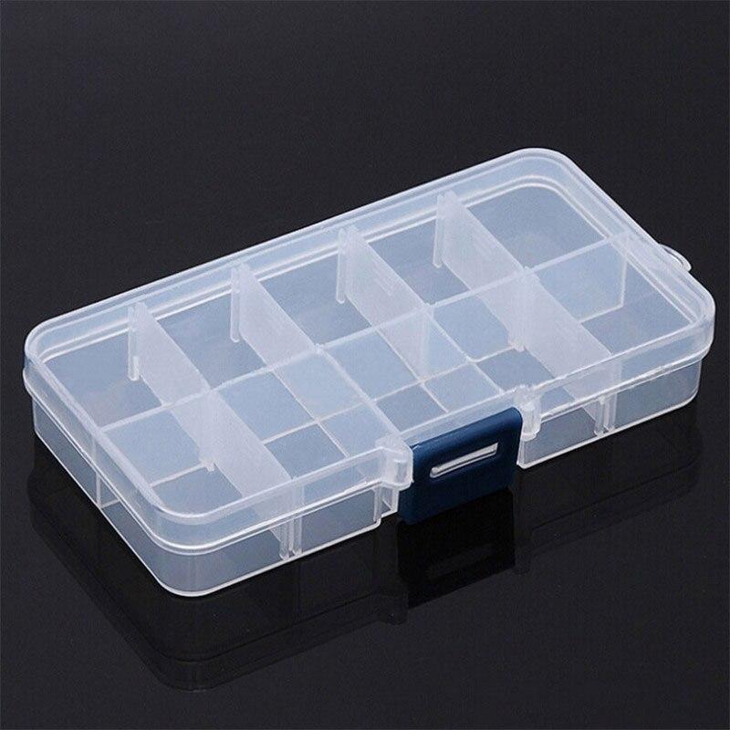 10 rejillas pequeño componente joyero ajustable transparente plástico cuenta píldoras caja Nail Art Tip Box tocador almacenamiento