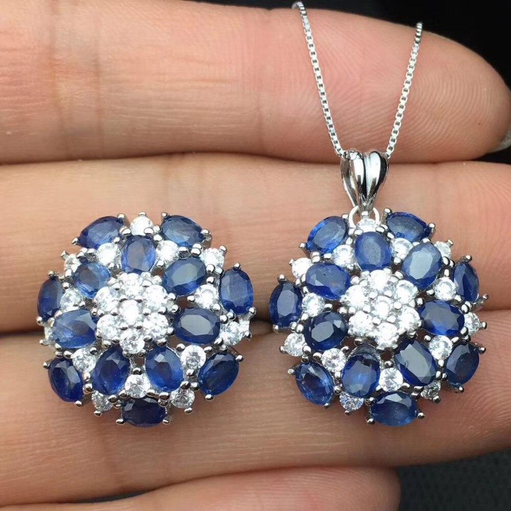 Anillo de zafiro azul Natural, colgante de piedras preciosas naturales, conjunto de joyería de plata S925, elegante estrella redonda de lujo, joyería de fiesta para chica