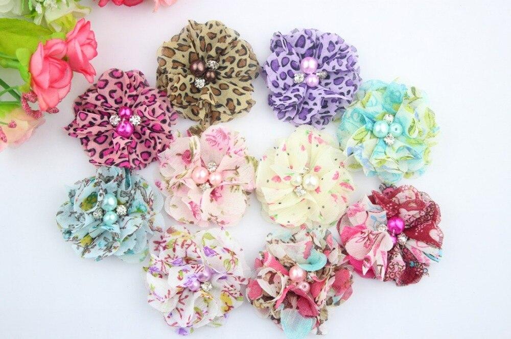 20 unids/lote de flores de tela con diamantes de imitación perla Centro bailarina volante floral para diademas zapatos flores accesorios para el cabello