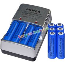 10x AA + en vrac 3000mAh Smart Rechargeable NI-MH 1.2V batteries batterie Blu chargeur