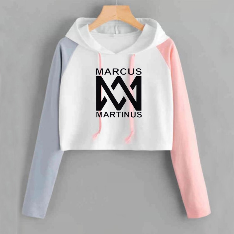 Crop Hoodie Vrouwen Marcus En Martinus Sweatshirt Casual Roze Korte Trainingspak Lange Mouwen Lente Herfst Dames Zweet Femme