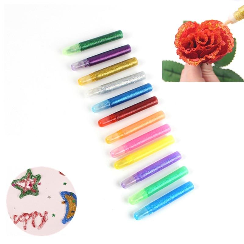 12 pçs cor glitter em pó adesivo papel infantil artesanato desenho telefone caso diy criança arte pintura super líquido prego gel cola caneta