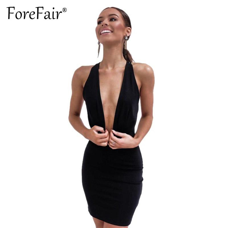 Forefair 2018 Summer New Women Slim Club Dress Black Sexy Deep V Neck Backless Bandage Bodycon Party Halter Mini Dress