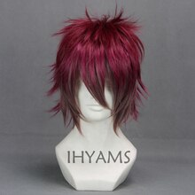 DIABOLIK LOVERS аято Сакамаки, темно-красный микс, короткий маскарадный парик + шапка для парика