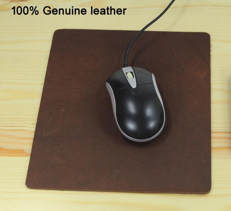 Thick 100% Genuine leather Mouse Pad MousePad Mat crazy horse mouse pad DIY 21.5cm x 18.5cm