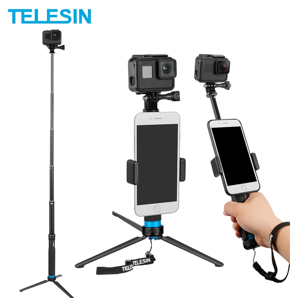 عصا سيلفي من سبائك الألومنيوم قابلة للتمديد من TELESIN مزودة بحامل ثلاثي القوائم ومشبك هاتف لهاتف GoPro Hero 5 6 7 8 9 شاومي Yi DJI oomo Action