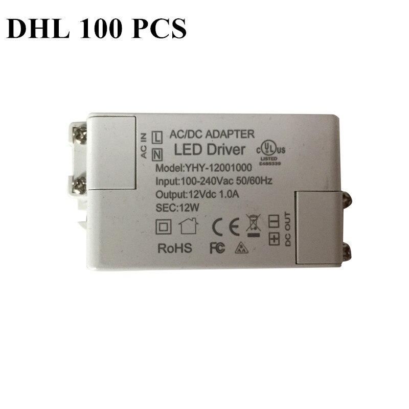 DHL 100 PCS power 12W AC 100-240V DC 12V 1.0A goods of BEST SELLING LED driver Lighting Transformers Driver for LED strip power