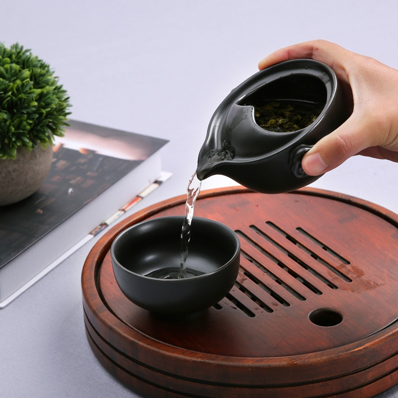 المحمولة السفر طقم شاي تشمل 1 وعاء 1 كوب السيراميك الصينية الكونغ فو إبريق الشاي Gaiwan الفناجين وأطباقها اليدوية خمر غلاية