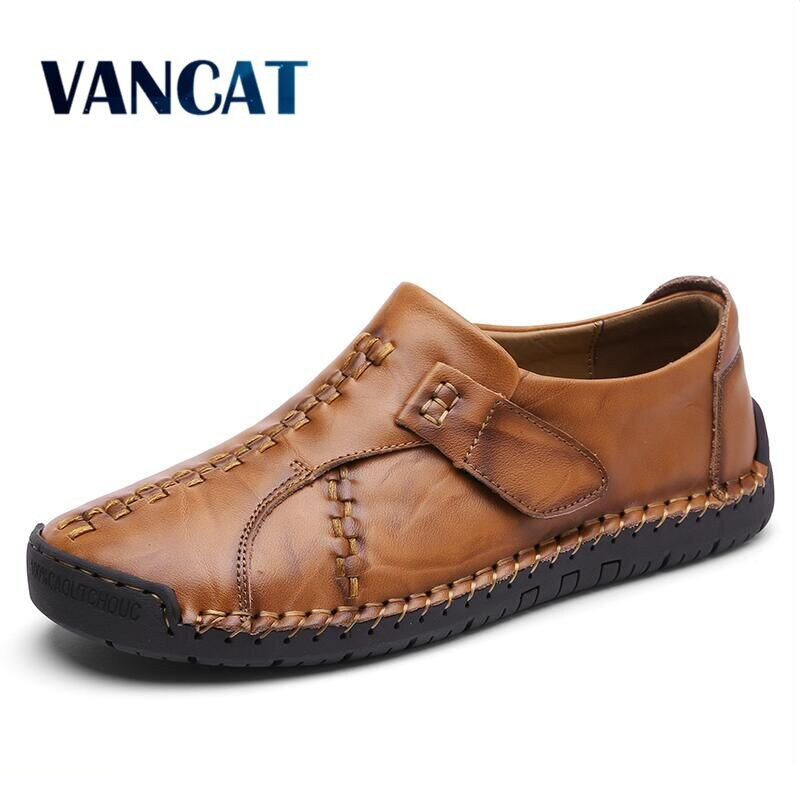VANCAT 2018 hechos a mano nuevos zapatos casuales cómodos mocasines hombres zapatos de calidad de cuero partido hombres zapatos planos mocasines zapatos
