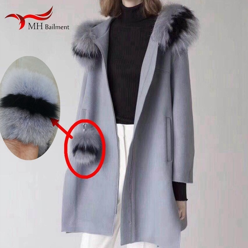 Women's coat woolen pocket new 100% real fox fur color matching pocket 9.5*11CM brand bag female towel