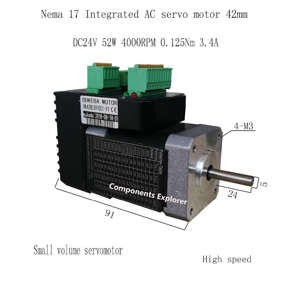 52 w 4000 rpm NEMA17 0.125Nm 42 AC servo motor integrado volume Pequeno servo motor 42BLS91EC1-YT