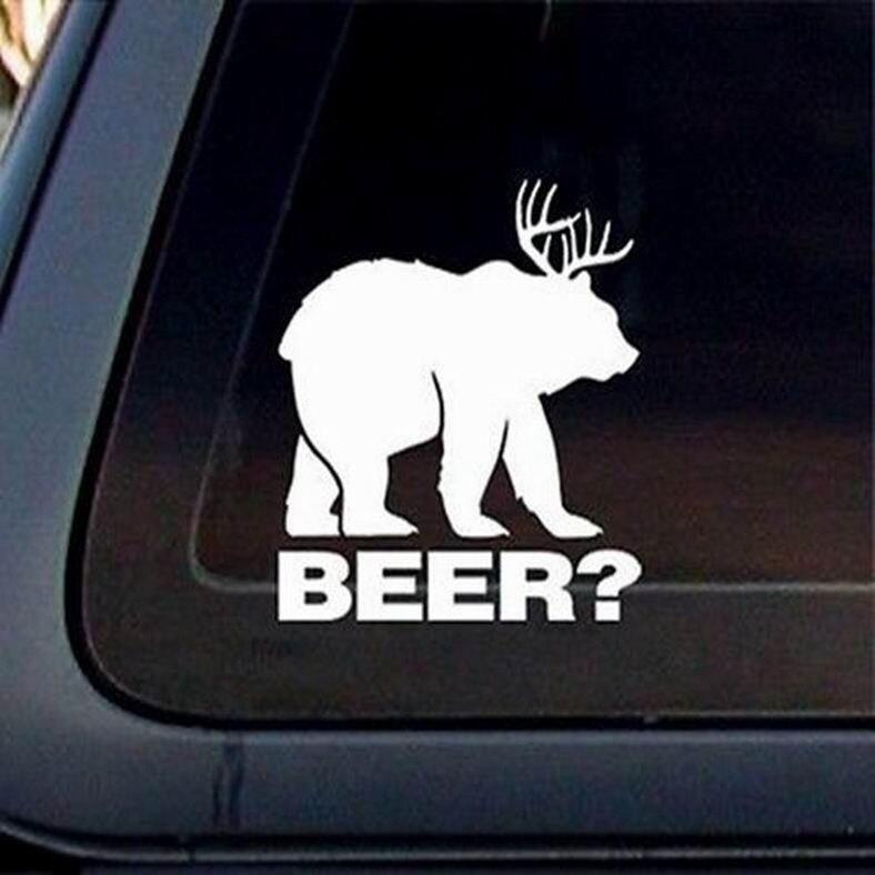 ¿Divertido parachoques para ventana, para cazar, oso + ciervo = cerveza? Pegatina de vinilo de alta calidad, 18x13cm