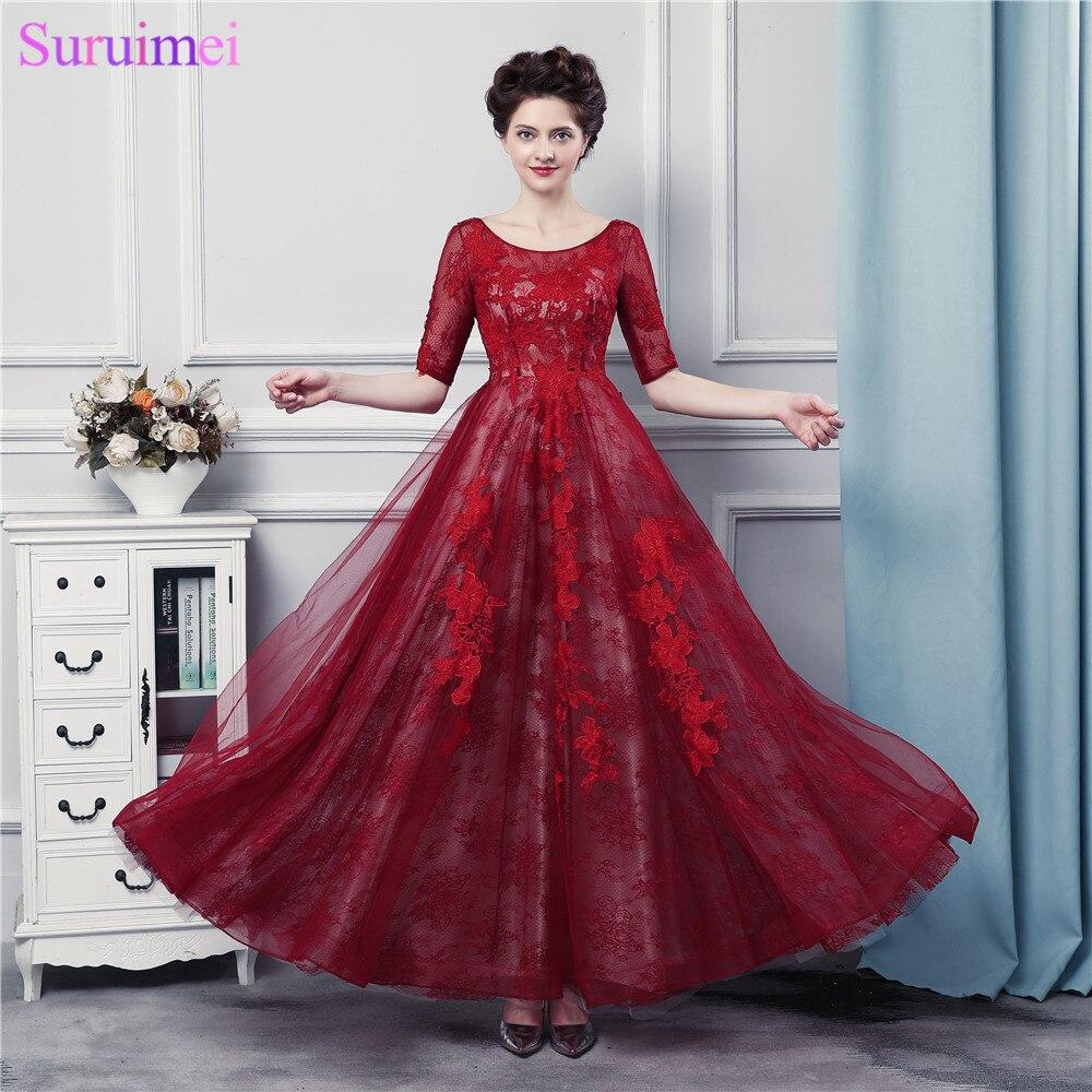 Vestidos de baile de graduación rojo oscuro con media manga tul aplique corsé con encaje en la espalda Borgoña Prom Gown mujer envío gratis